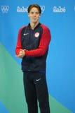 Silbermedaillengewinner Connor Jaeger von Vereinigten Staaten während der Medaillendarstellung am Männer ` s 1500-Meter-Freistil  Lizenzfreie Stockbilder