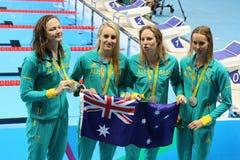 Silbermedaillengewinner-Team Australia Women-` s 4 Ã- 100m Gemischrelais im Rio 2016 Olympics Stockbild
