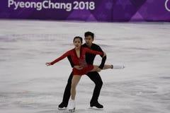 Silbermedaillengewinner Wenjing Sui und Cong Han von China führen in den Paaren eislaufend frei durch, eislaufend an der 2018 Win Lizenzfreies Stockbild