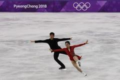 Silbermedaillengewinner Wenjing Sui und Cong Han von China führen in den Paaren eislaufend frei durch, eislaufend an der 2018 Win Stockfotografie