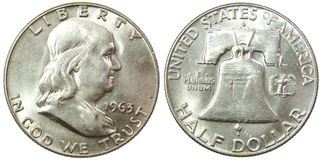 Silbermünze 1963 USA-halber Dollarder franklin-Freiheit Lizenzfreies Stockfoto