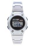Silberne Ansicht der Digital-Kleid-Uhr voll - Stockfotografie