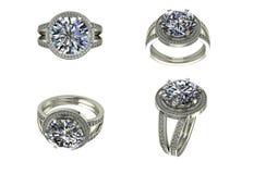 Silberne Ansicht des Ringes vier mit Diamanten auf Weiß Stockfoto