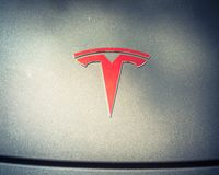 Silberne Autohaubenabdeckung mit Tesla-Logonahaufnahme lizenzfreie stockbilder