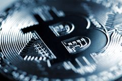 Silberne Bitcoin-Nahaufnahme Lizenzfreies Stockbild