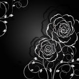 Silberne Blumen mit Schatten auf dunklem Hintergrund stockfotografie