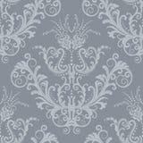 Silberne Blumenweinleseluxuxtapete Stockfotos