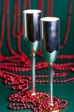 Silberne bocals und Serpentinendekoration Lizenzfreies Stockfoto