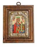 Silberne byzantinische Ikone Stockfotografie
