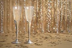 Silberne Champagne-Flöten Lizenzfreie Stockfotos