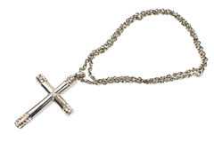 Silberne christliche Kreuzkette Stockfotografie