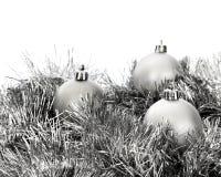 Silberne Dekorationen für Weihnachten Lizenzfreies Stockbild