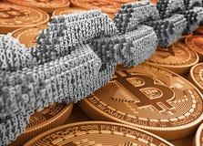 Silberne Digital-Kette verbundenen 3D nummeriert auf goldenem Bitcoins lizenzfreie abbildung