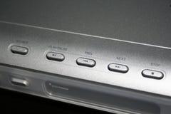 Silberne DVD-Spieler-Oberfläche mit Tasten Stockfoto