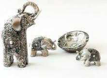 Silberne Elefantdekorationen Stockbild