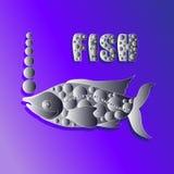 Silberne Fische auf einem Flieder-blauen Hintergrund Stock Abbildung