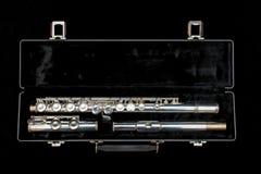 Silberne Flöte getrennt auf Schwarzem Stockfoto