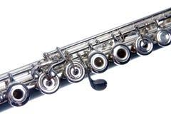 Silberne Flöte getrennt auf Weiß Stockfotos