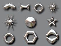 Silberne Formen mit Schatten Stockbilder