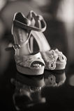 Silberne Frauen-Schuhe Stockfotos