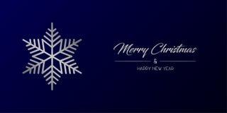 Silberne frohe Weihnachten u. Flocke weit stock abbildung