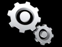 Silberne Gänge getrennt auf Schwarzem Stockfoto