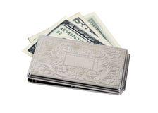 Silberne Geld-Halterung stockfoto