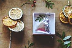 Silberne Geschenktaschen- und -zitrusfruchtscheiben auf Stöcken Lizenzfreie Stockfotos