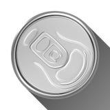 Silberne Getränkedose von der Draufsicht Stockbilder
