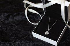 Silberne Halskette in der Geschenkbox auf schwarzem Hintergrund lizenzfreies stockbild