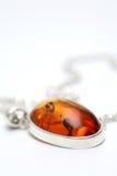 Silberne Halskette mit bernsteinfarbiger Einlegearbeit Lizenzfreies Stockfoto
