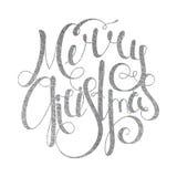 Silberne handgeschriebene Aufschrift frohe Weihnachten Lizenzfreie Stockfotos