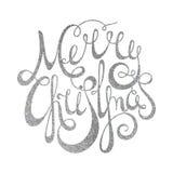 Silberne handgeschriebene Aufschrift frohe Weihnachten Stockfoto