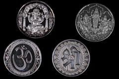 Silberne hinduistische Münzen Lizenzfreie Stockbilder