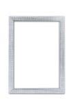 Silberne Künste kopieren den Bilderrahmen, der auf Weiß mit Beschneidungspfad lokalisiert wird Stockbilder