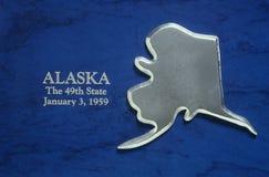 Silberne Karte von Alaska Lizenzfreies Stockbild