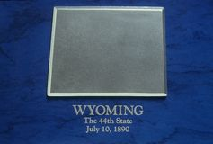Silberne Karte von Wyoming Stockbilder