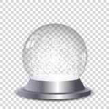 Silberne Kristallschneekugel transparent und lokalisiert Stockfoto