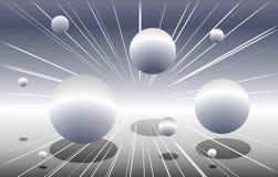 Silberne Kugeln, die durch Platz fliegen lizenzfreie abbildung