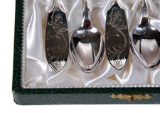 Silberne Löffel Stockbild
