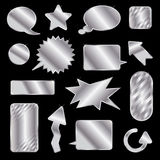 Silberne Marken und Spracheluftblasen Stockbilder