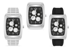 Silberne mechanische Armbanduhrvektorillustration Lizenzfreie Stockfotografie