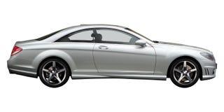 Silberne Mercedes-Seitenansicht Stockbilder