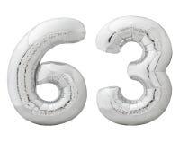 Silberne Nr. 63 dreiundsechzig machte vom aufblasbaren Ballon, der auf Weiß lokalisiert wurde Lizenzfreie Stockfotos