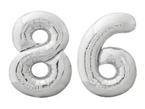 Silberne Nr. 86 sechsundachzig machte vom aufblasbaren Ballon, der auf Weiß lokalisiert wurde Stockfotos