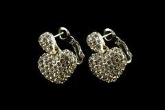 Silberne Ohrringe mit Kristallen Lizenzfreie Stockfotografie