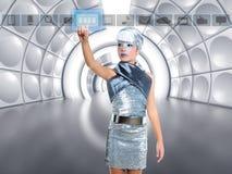 Silberne rührende Fingerikonen des futuristischen Kindermädchens lizenzfreies stockfoto