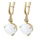 Silberne runde Mode der Ohrringe stilvoll Stockbild