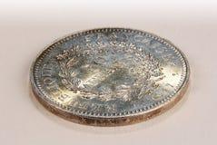 Silberne sammelbare Münze von 50 Franken, Frankreich 1977 Lizenzfreie Stockfotos