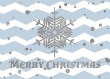 Silberne Schneeflocke und Aufschrift frohe Weihnachten Stockbild